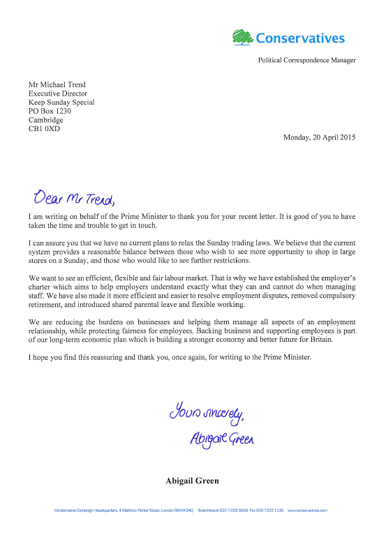 Keep Sunday Special Prime Minister Letter