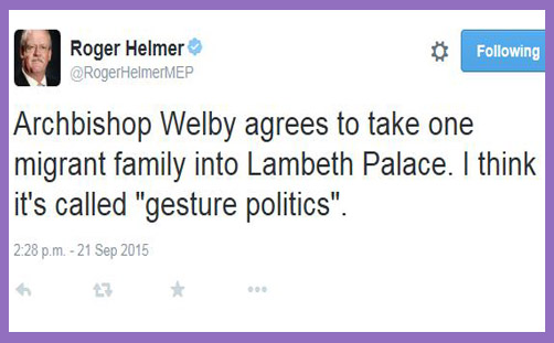 Helmer Tweet on Welby refugees 2