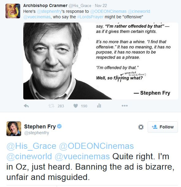 Stephen Fry Just Pray tweet 2