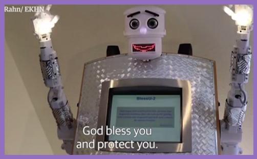 Robot priest blessing