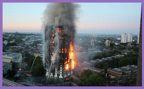 Grenfell Tower burning