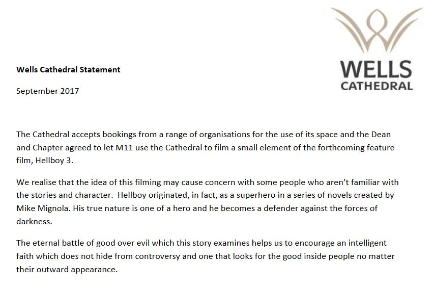 wells cathedral hellboy filming statement