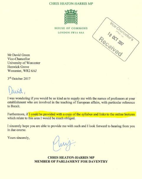 chris heaton-harris letter brexit
