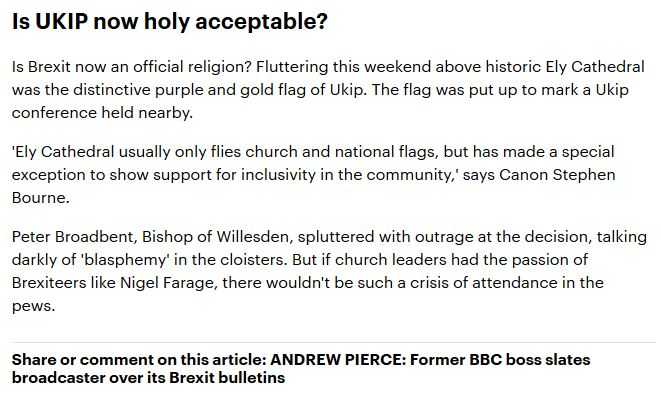 Andrew Pierce Daily Mail IKIP flag Ely Cathedral