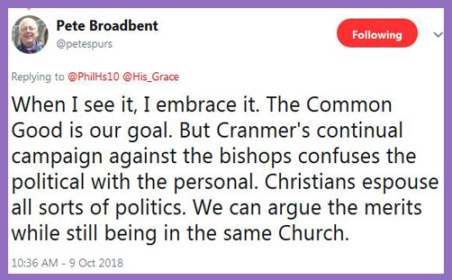 Pete Broadbent - Cranmer campaign against bishops