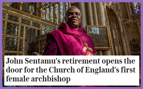 Archbishop York Sentamu - retirement woman