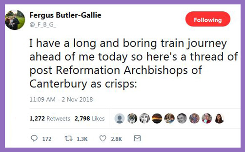 Fergus Bulter Gallie archbishops of canterbury as crisps