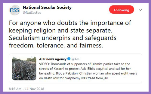 national secular society pakistan islamists anglicans church of england