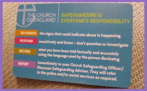church of england safeguarding guidelines card
