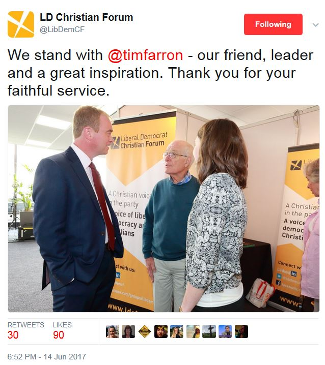 LD Christian Forum - Farron resignation
