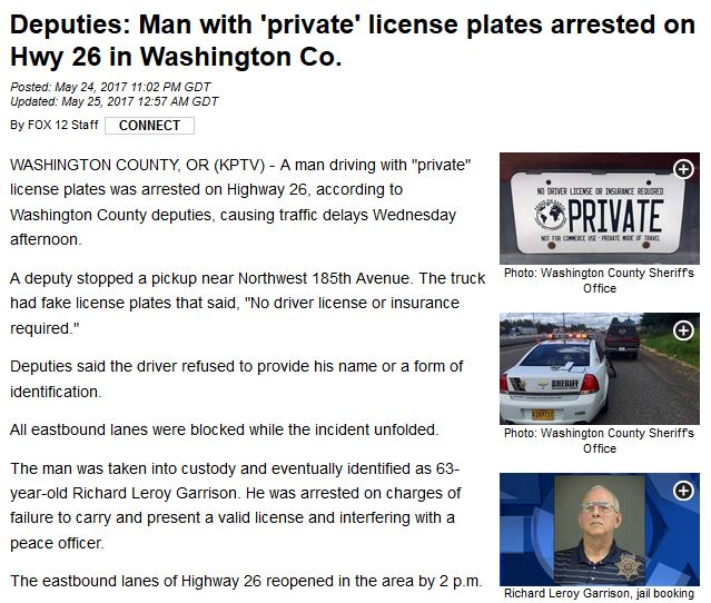 sovereign citizens private license plates