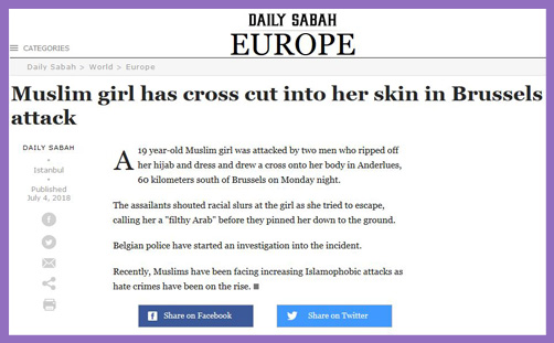 Muslim girl cross cut into skin