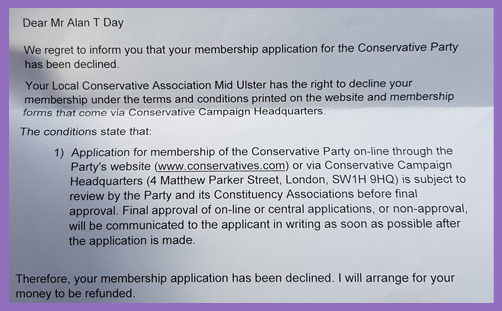 Alan Day Prodigal Tory Party membership