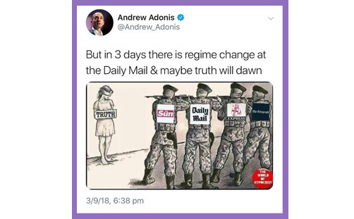 Lord Adonis tweet truth right wing media