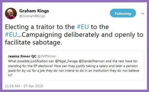 Bishop Graham Kings Farage Hannan traitors to EU