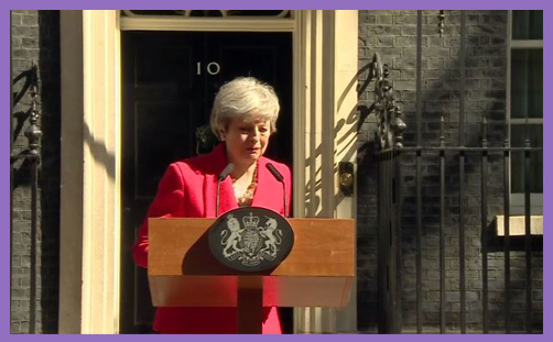 Theresa May crying Downing St
