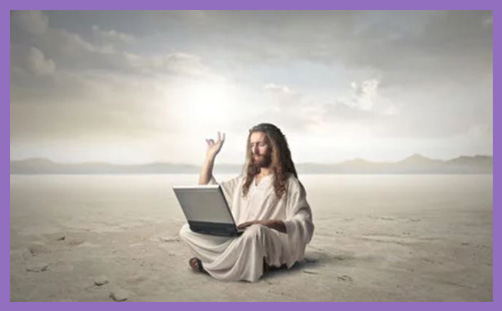 Jesus laptop tweeting CofE charter social media