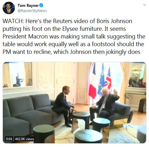 Boris feet table macron video