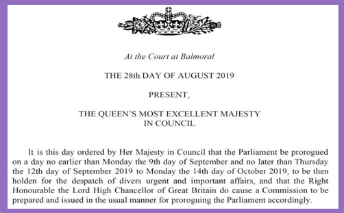 prorogation queens order constitutional monarchy