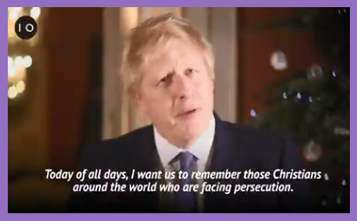 Boris Johnson Christmas persecuted christians