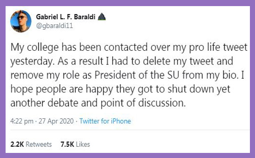gabriel baraldi bournemouth poole students union pro-life tweet censored