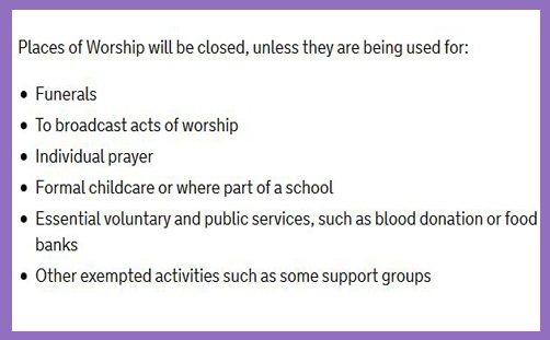 churches closed communal worship banned