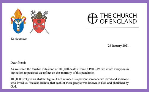 archbishops letter nation covid deaths call to prayer
