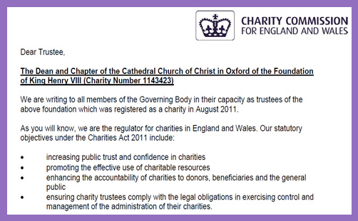 Christ Church Oxford Trustees Charity Commission Dean Martyn Percy