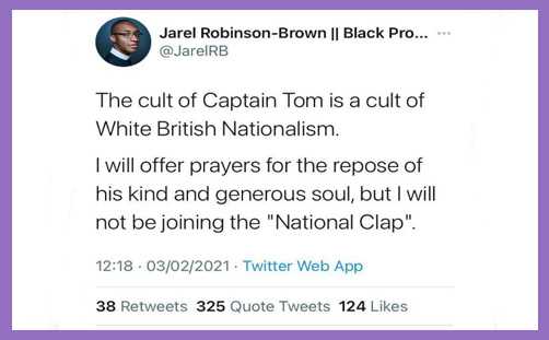 captain tom moore jarel robinson-brown tweet cult white british nationalism