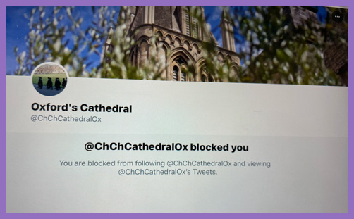 Christ Church Cathedral Oxford Canon Angela Tilby Twitter block